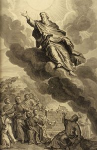 Enoch being taken up to heaven. The righteous are below him, the radiance of the sun represents heaven.