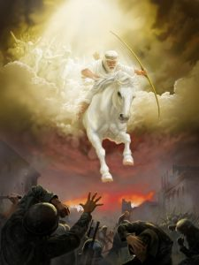 Enoch rides from the heavens to dispense God's righteousness. Enoch is known as the first true prophet, Recorder of Israel and recipient of heavenly knowledge.